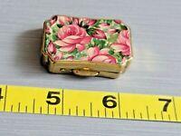 Metal Mini Trinket Pill Box Gold Tone Floral 1 5/8'' L ~ 1'' W