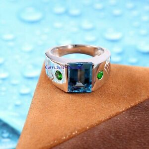 Natural Blue topaz & tsavorite garnet gemstones with 925 Sterling Silver Ring