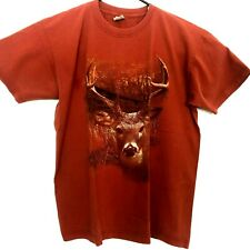 90s Deer Vintage T Shirt Size XL Orange Scenic Forest Truck Stop Tee Distressed