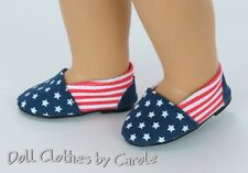 """Patriotic Red, White, and Blue Canvas Slip-on Shoes fit 18"""" American Girl Doll"""