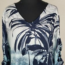 JM Collection Womens XL Flowing Blue Blouse Hawaii Ruched Sleeves V-Neck Stretch