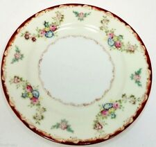 SHOFU CHINA SFU3 RED EDGE FLOWERS IN CREAM SET(S) OF 2 BREAD PLATES OCC. JAPAN