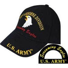 Army 101st Airborne Screaming Eagles Division Black Embroidered Cap Hat