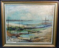 B joli tableau signé Pierre MALRIEUX peinture toile 61cm bassin Arcachon