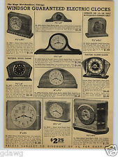 1938 PAPER AD Windsor Electric Clocks Wood Wooden Colored Mirror Landscape