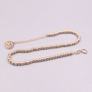 "Real 18K Rose Gold Woman Smooth Beads Chain Love Baby Bracelet 7.68"" 2.5-2.7g"