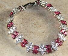 Silver Elegant Red Topaz & White Topaz Woman Bracelet WB13025