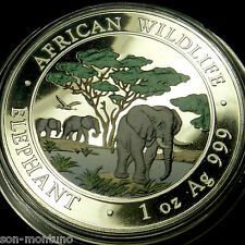 2012 SOMALIAN ELEPHANT COLORIZED African Wildlife 1 Oz Silver - NOT PERFECT COIN