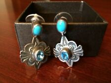 Navajo Indian HAPPY PIASSO Sterling,Turquoise & Blue Topaz Earrings