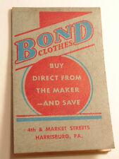 Vintage 1941 advertising notepad:  Bond Clothes, Market St. Harrisburg, PA