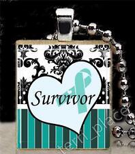 Teal Ribbon Scrabble Tile Pendant Ovarian Cancer Survivor Support S4