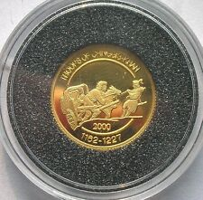 Mongolia 2000 Chinggis Khaan 500 Tugrik Gold Coin,Proof