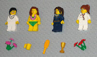 Lego MINIFIGURES 4 Women Girls People Lady Flowers Town Female Minifigs Toys