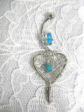 NEW SPIRIT SALE HEART DREAM CATCHER  BLUE BEAD & DANGLING FEATHER 14g BELLY RING