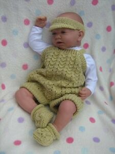 """A5 PAPER KNITTING PATTERN * DUNGAREES/DRESS DUO * 20"""" Reborn/Baby 0-3 Months"""