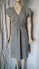 Rutzou grey 100% silk sleeveless dress with small beads waist details size 36