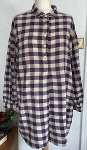 Womens Flannel Shirt TOAST UK Purple Plaid Tunic Oversized Blouse Size L 14