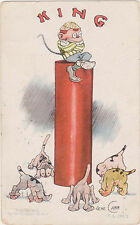 July 4th Postcard,Signed Gene Carr,KING,GIANT FIRE CRACKER,Used,1908