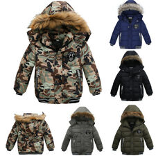 Kinder Jungen Winter Warm Dicker Winter jacke Mantel Stepp Mantel Kapuze Parka