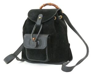 Authentic GUCCI Black Suede and Leather Bamboo Handle Mini Backpack Bag #37068
