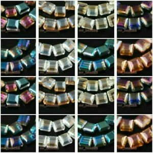 10pcs 14mm Flat Square Faceted Glass Crystal Loose Beads Jewelry DIY Findings#