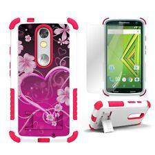 For Motorola Droid Turbo 2 XT1585 X Force Rugged Hybrid Armor Case Heart Flowers