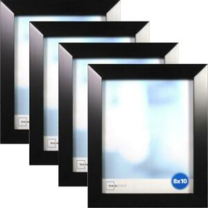 "Black 8"" x 10"" Frame, Set of 4, Wide Bevel"