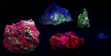 Fluorescent Lot 4  Specimens w Fluorite & Cerussite and Blue Aragonite & Caliche