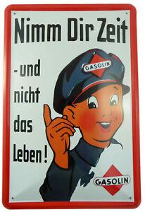 """Blechschild """"Nimm Dir Zeit"""" Gasolin Auto Werkstatt Garage Tankstelle 20x30cm neu"""