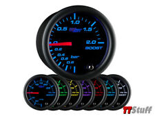 GlowShift Black 7 Color LED Clear Lens 2 BAR Turbo Boost / Vacuum Gauge 52mm