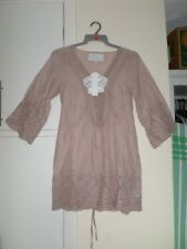 Y London Y800 Ladies Nude V-Neck Perforated Tunic Top Size S/8