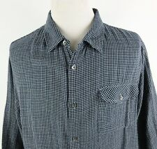 Carbon 2 Cobalt XXL Button Front Long Sleeve Shirt Gingham Check Lightweight
