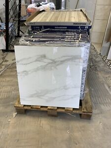 (20 SQM)RECTIFIED WHITE MARBLE EFFECT POLISHED PORCELAIN. 60 X 60CM. £16.50 SQM
