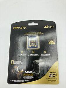 PNY Optima 4GB SD HC Card P-SDHC4G4-EF Premium Flash Memory Card, NIP, Sealed