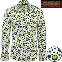 Chenaski Mens 70s Retro Green Dots & Spots Psychedelic Hippy Pop Art Shirt
