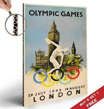 1948 LONDON OLYMPIC GAMES Vintage Advertising Poster A4 Nostalgic Big Ben Print
