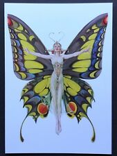 Blank Art Note Card Butterfly Fairy winged Nos Pleiades Press #177 flapper woman