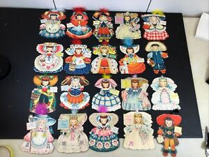 VINTAGE ~ 1940s ~ HALLMARK PAPER DOLL CARDS ~ Lot of 20~ Story Book Characters