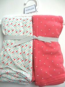 """NEW Carter's Baby Set of 2 Cotton Blankets Coral 35"""" X 35"""" Cotton"""