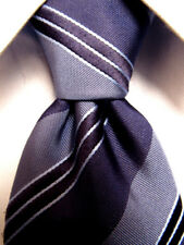 Mens Yves Saint Laurent Blue Gray Striped Silk Tie Hand Made in Italy A3699