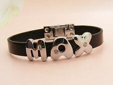 GIRL /BOY PERSONALISED Name & 8mm Faux Leather BRACELET ~Easy one Touch on / off