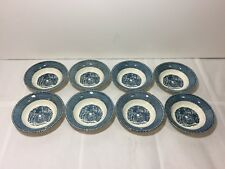 VINTAGE LOT 8 BLUE TRANSFERWARE CURRIER AND IVES CHILDREN AT GATE BERRY BOWLS