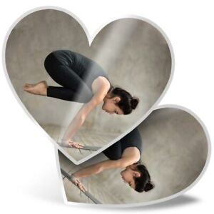 2 x Heart Stickers 15 cm - Yoga Pose Studio Woman  #46518