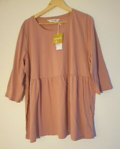 Women's Size L Taking Shape 100% Organic Cotton Tiered Top 3/4 Sleeves BNWT