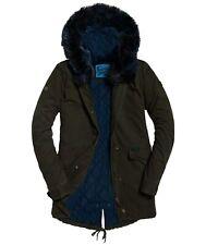 Superdry Khaki Green Hawk Coloured Faux Fur Parka Women Jacket Coat Size M UK 12