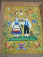 Americana Folk Art Painting of Couple Love Rustic Wood Frame Signed Pardini