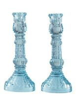 Victorian Trading Co 2 Light Blue Glass Ribbed Glass Candlestick Candle Holders