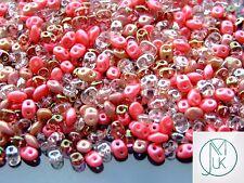 20g Czech SuperDuo Twin Beads Pink Mix