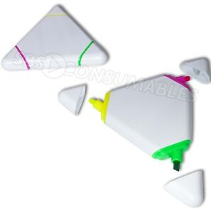 2x Triangle Novelty Highlighter Pens - 3 Colours in 1: Neon Yellow, Pink, Green.