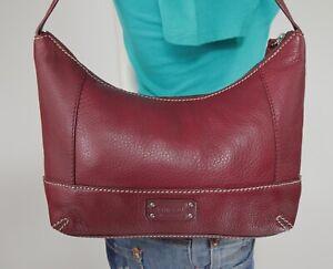 THE SAK Medium Burgundy Leather Shoulder Hobo Tote Satchel Purse Bag